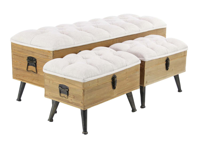 Phenomenal Wood And Metal Fabric Bench Set Of 3 Inzonedesignstudio Interior Chair Design Inzonedesignstudiocom