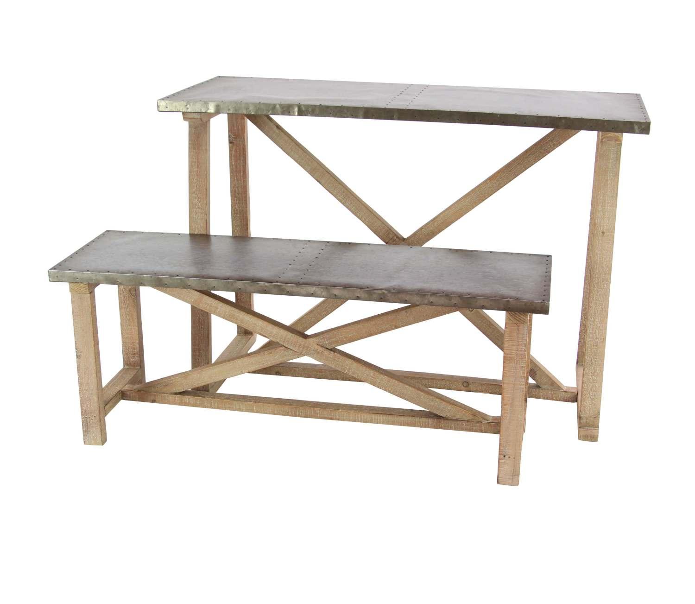 Uma Enterprises 98461 Metal And Wood Table With Bench Set