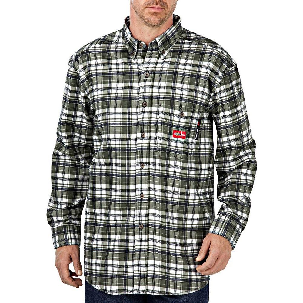 Dickies rl310wfp flame resistant long sleeve plaid shirt for Dickies short sleeve plaid shirt
