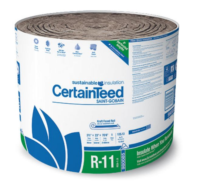Generic Certainteed 980085 3 1 2 Inch X 23 Inch X 70 Foot R11 Kraft Sustainable Insulation At Sutherlands