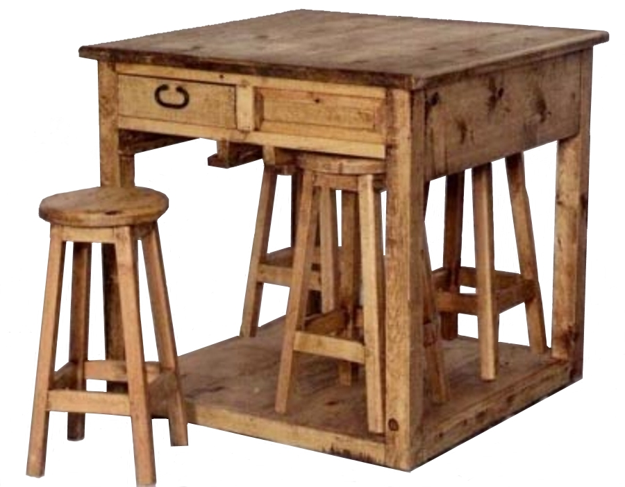 Rustic Pine Furniture 1196 Rectangular Breakfast Set 5 Piece At