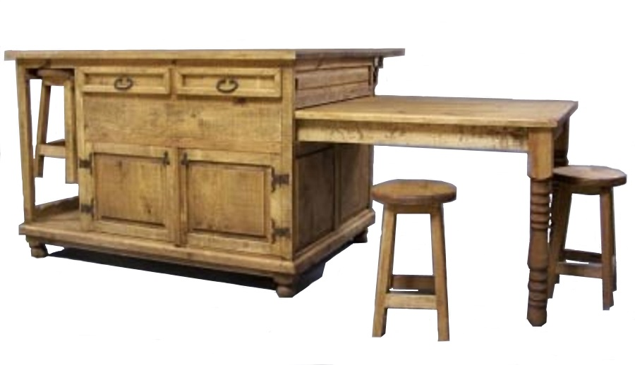 Rustic Pine Furniture 3241 Kitchen Island With Sliding Table At