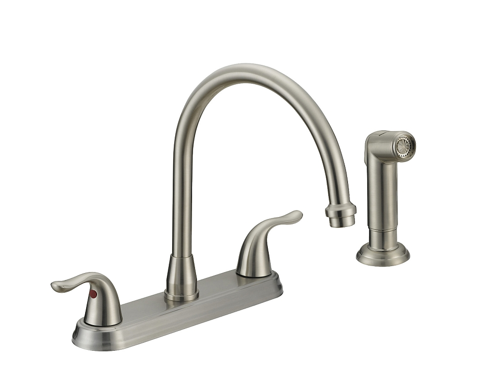 2 Handle Kitchen Faucet Brushed Nickel 8 In