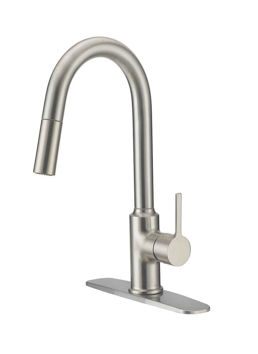 Flo Control Faucets Fp4af218np Stainless Steel Contemporary Kitchen Faucet With Pull Down Sprayer At Sutherlands